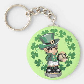 Leprechaun With A Pot Of Gold Basic Round Button Key Ring