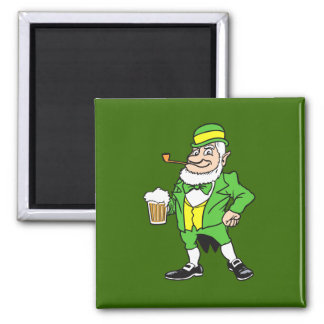 Leprechaun with beer square magnet
