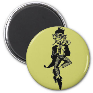 Leprechaun with Flute 6 Cm Round Magnet