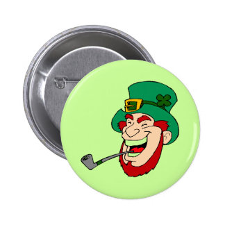 Leprechaun with Pipe St. Patty's Button