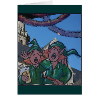 Leprechauns Decorated Window for St Patrick Greeting Card