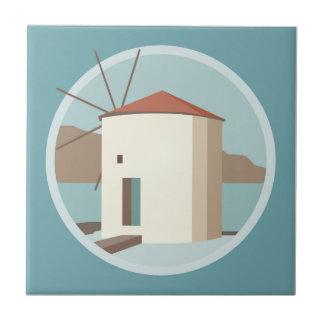 Leros, windmill at Ag. Marina Tile