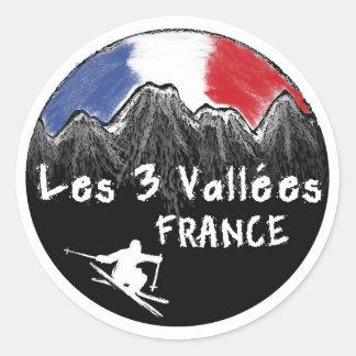 Les 3 Vallées France skier Classic Round Sticker