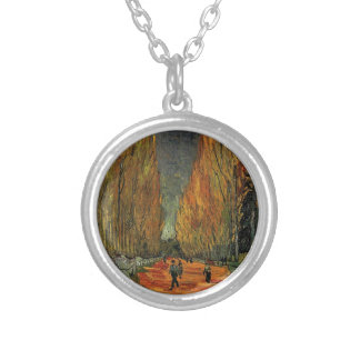 Les Alyscamps by Vincent van Gogh. Fall, autumn Silver Plated Necklace