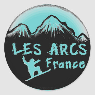 Les Arcs France artistic skier Round Stickers