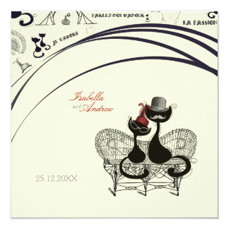 Les Aristochats Noirs - french passion 13 Cm X 13 Cm Square Invitation Card