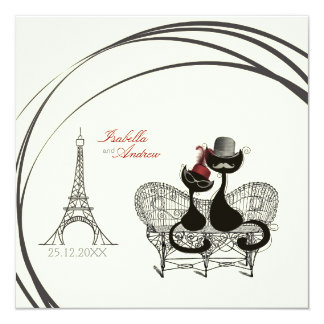 Les Aristochats Noirs - french passion 2 13 Cm X 13 Cm Square Invitation Card
