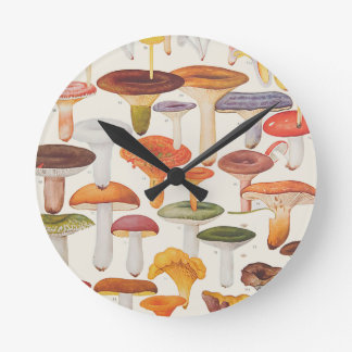 Les Champignons Mushrooms Round Clock