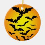 Les chauve-souris d'Halloween - Round Ceramic Decoration