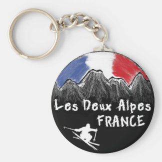 Les Deux Alpes France skier Key Ring