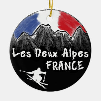 Les Deux Alpes France skier Round Ceramic Decoration
