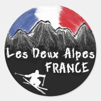 Les Deux Alpes France skier Round Sticker