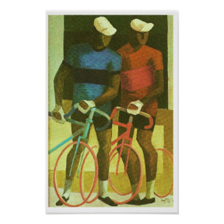 Les Deux Cyclistes - Two Cyclists 1969 Oil Paintin Poster