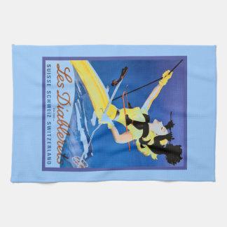 Les Diablerets, Switzerland, Vintage ski poster Tea Towel