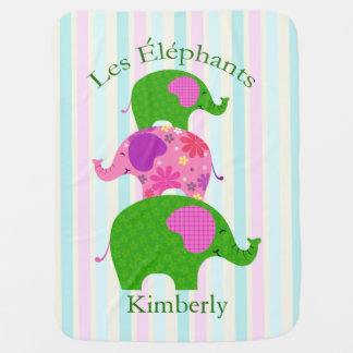 """Les Elephants"" Geen and Pink Pastel Pram blankets"