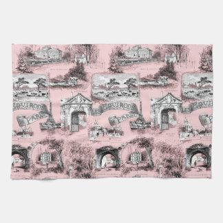Les Environs de Paris ~ Dauphine Pink Tea Towel