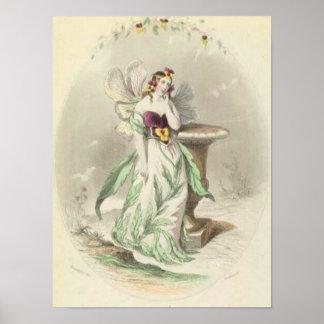 Les Fleurs Pansy Girl Poster