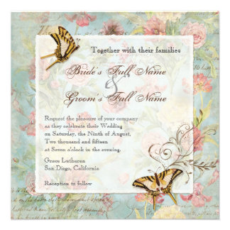 Les Fleurs Peony Rose Tulip Floral Flowers Wedding Custom Invitation