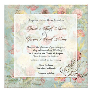Les Fleurs Peony Rose Tulip Floral Flowers Wedding Personalized Invite
