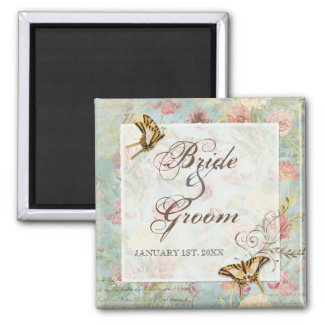 Les Fleurs Peony Rose Tulip Floral Flowers Wedding Square Magnet