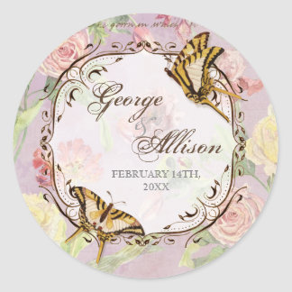 Les Fleurs Peony Rose Tulip Floral Flowers Wedding Round Sticker