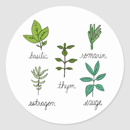 Les herbes classic round sticker