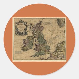 Les Isles Britanniques, 1700's Map Round Sticker