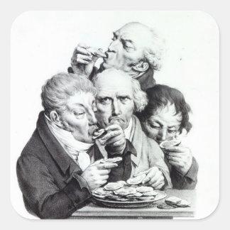 Les Mangeurs d'Huitres, 1825 Square Sticker