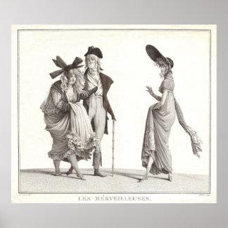 Les Merveilleuses Antique French Fashion Print