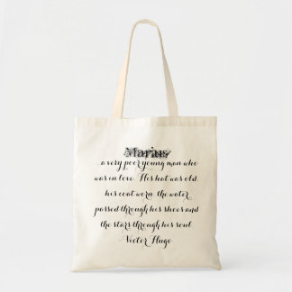 Les Miserables Bag: Marius Fancy Script Budget Tote Bag