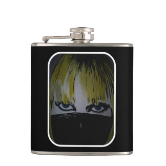 'Les Yeux Sans Visage' on a stainless steel flask