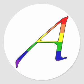 "Lesbian and Gay Pride ""Scarlet"" Letter A Classic Round Sticker"