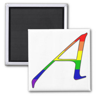 """Lesbian and Gay Pride """"Scarlet"""" Letter A Square Magnet"""