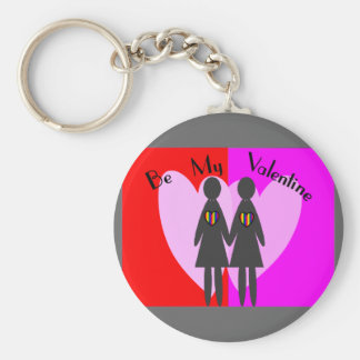 """Lesbian """"Be my Valentine""""-Cards & Gifts Basic Round Button Key Ring"""