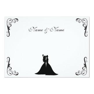 Lesbian Bride and Bride Black and White Wedding 13 Cm X 18 Cm Invitation Card