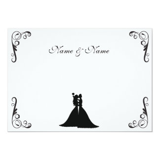 Lesbian Bride and Bride Black and White Wedding Card