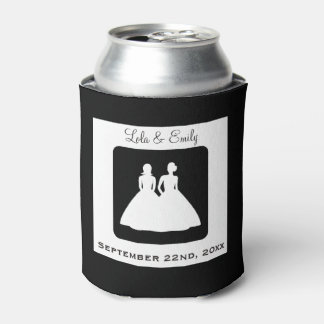 Lesbian Bride and Bride Silhouette Wedding Can Cooler