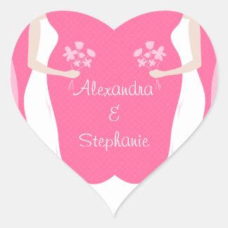 Lesbian Brides Personalized Heart Sticker