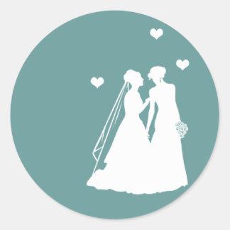 Lesbian Brides Wedding Round Stickers