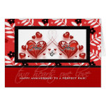 Lesbian Couple Anniversary - Hers & Hers Hearts Card