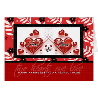 Lesbian Couple Anniversary - Hers & Hers Hearts Greeting Card