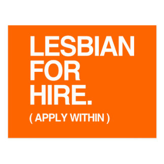 LESBIAN FOR HIRE POSTCARD