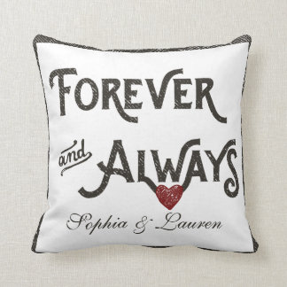 Lesbian Forever Always Heart Personalized Throw Pillow