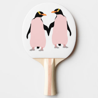 Lesbian Gay Pride Penguins Holding Hands Ping-Pong Paddle