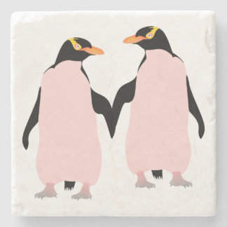 Lesbian Gay Pride Penguins Holding Hands Stone Coaster