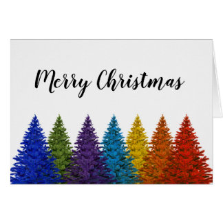 Lesbian Gay Pride Rainbow Flag Christmas Tree Card
