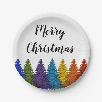 Lesbian Gay Pride Rainbow Flag Christmas Tree Paper Plate