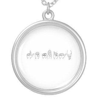 Lesbian in Sign Language .png Round Pendant Necklace