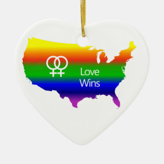 Lesbian Love Wins Christmas Ornament