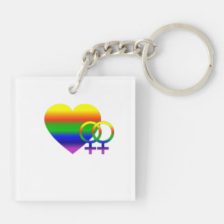 Lesbian Love Wins Double-Sided Square Acrylic Key Ring